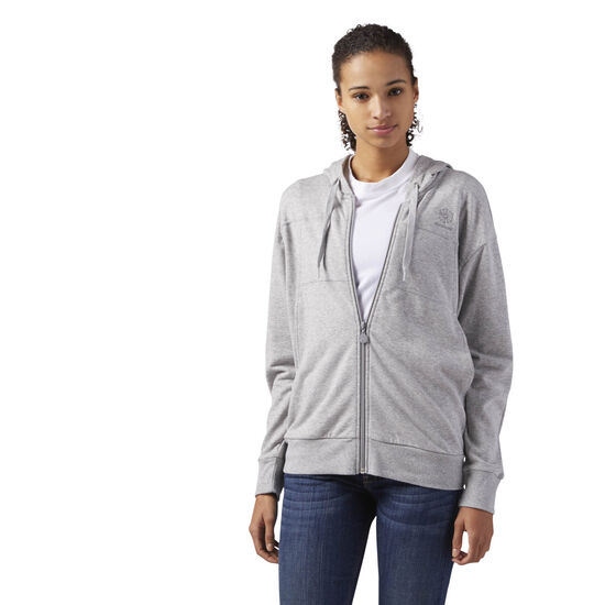 Reebok - Full Zip French Terry Hoodie Medium Grey Heather CD8219