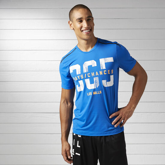 Reebok - LES MILLS Short Sleeve Chill Tee Awesome Blue BJ9650