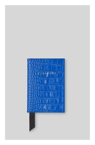 Sea Blue Croc Passport Holder, in Blue on Whistles