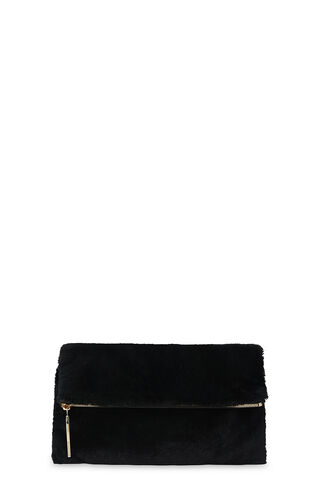 Shearling Foldover Clutch, in Black on Whistles