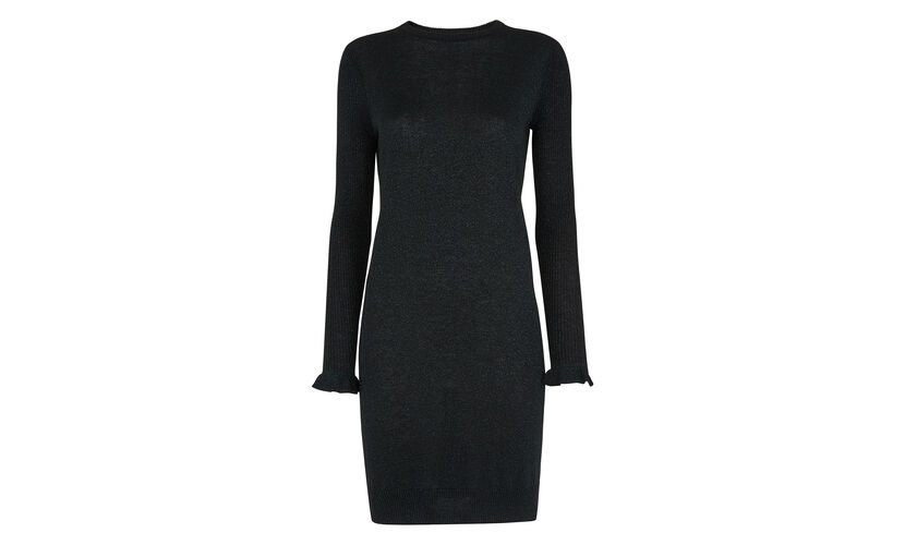 Frill Cuff Sparkle Knit Dress, in Sapphire Blue on Whistles