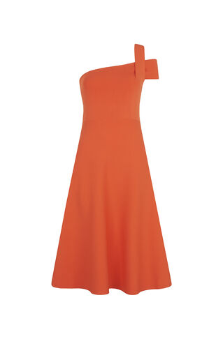 Lyra One Shoulder Knit Dress, in Coral on Whistles