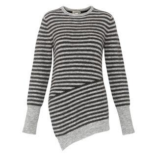 Striped Asymmetric Hem Knit, in Grey on Whistles