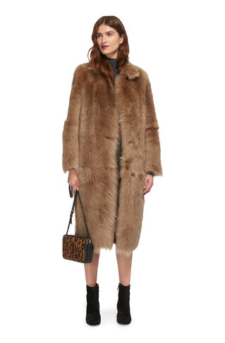 Ekland Sheepskin Coat, in Beige on Whistles