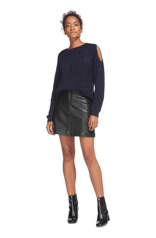 Jessie Leather A Line Skirt, in Black on Whistles