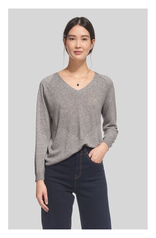 Oversized V Neck Knit, in Grey Marl on Whistles