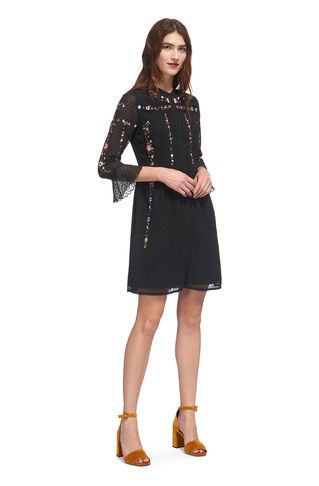 Amira Embroidered Shirt Dress, in Black/Multi on Whistles