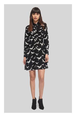Crane Print Shirt Dress, in Black and White on Whistles
