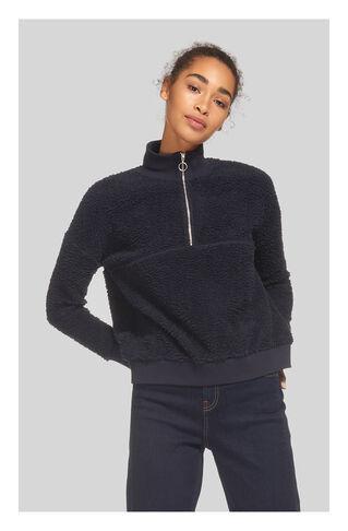 Zip Neck Fleece Sweatshirt, in Navy on Whistles