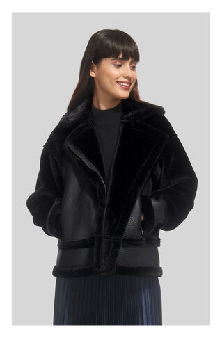 Mix Faux Fur Biker Jacket, in Black on Whistles