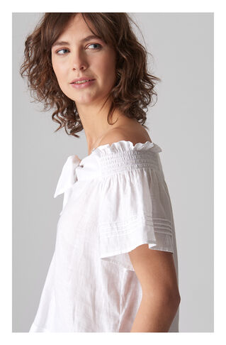 Tie Front Bardot Linen Top, in White on Whistles
