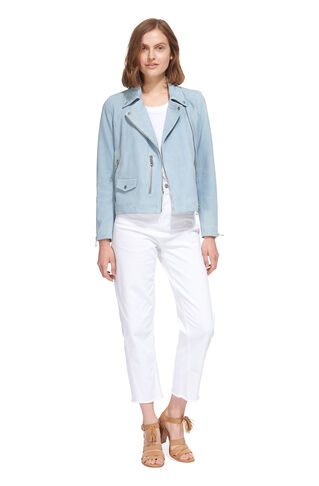 Suede Agnes Biker, in Pale Blue on Whistles
