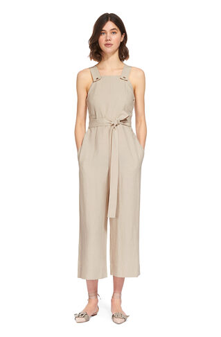 Tie Front Dungaree Jumpsuit, in Beige on Whistles