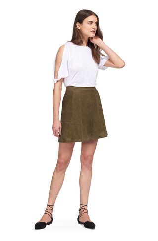 Leonie Suede Mini Skirt, in Khaki on Whistles