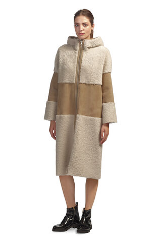 Hooded Sheepskin Coat, in Cream on Whistles