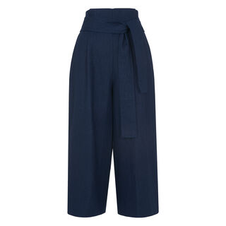 Tilda Paperbag Waist Trouser, in Navy on Whistles