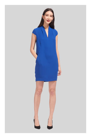 Paige V Neck Crepe Dress, in Blue on Whistles