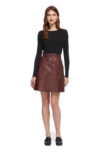 Bryony Snake Leather Skirt, in Burgundy on Whistles