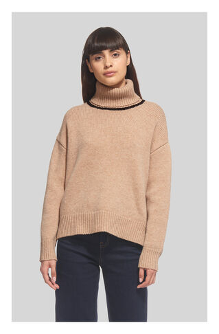 Funnel Neck Tipped Knit, in Neutral on Whistles