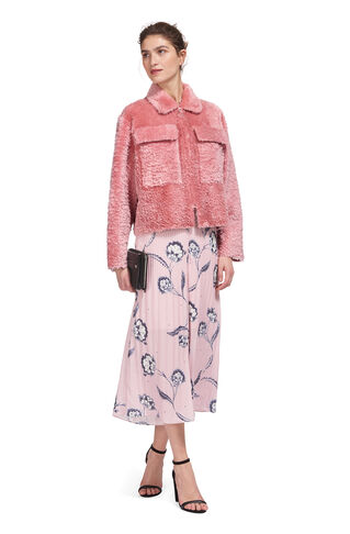Dusty Zip Front Shearling, in Pink on Whistles
