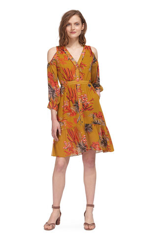 Cactus Cold Shoulder Dress, in Gold/Multi on Whistles