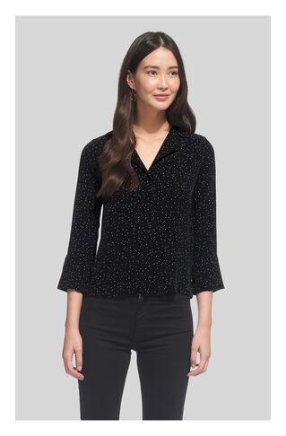 Fleck Print Pyjama Shirt, in Black and White on Whistles