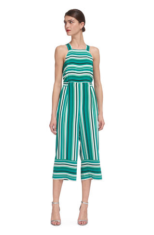 Resort Stripe Silk Jumpsuit, in Green/Multi on Whistles