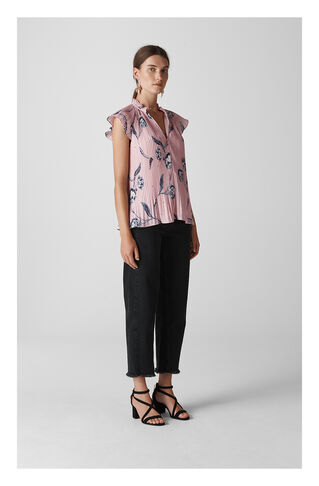 Giselle Ruffle Top, in Pink/Multi on Whistles