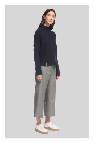 Check Crop Wide Leg Trouser, in Grey on Whistles