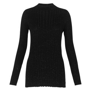 Sparkle Rib Long Sleeve Knit, in Black on Whistles