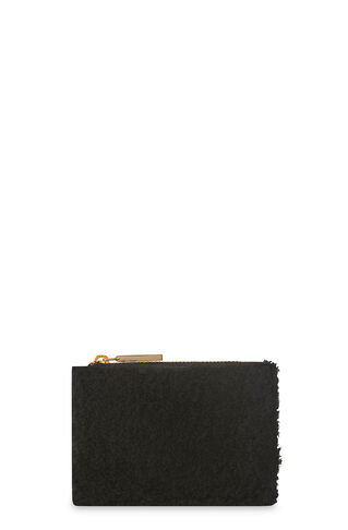 Black Shearling Coin Purse, in Black on Whistles