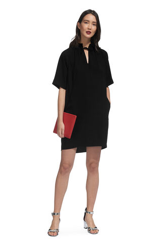 Blake Crepe Tie Neck Dress, in Black on Whistles