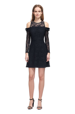 Elis Cold Shoulder Lace Dress, in Navy on Whistles