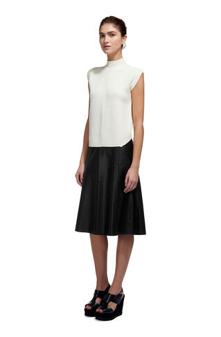 Leather A-line Midi Skirt, in Black on Whistles