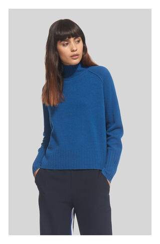 Funnel Neck Wool Knit, in Teal on Whistles