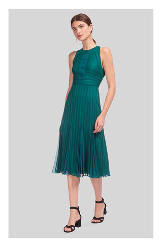 Nora Lace Pleat Mix Dress, in Dark Green on Whistles