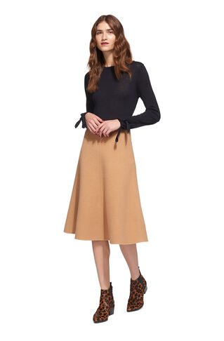 Double Faced Wool Midi Skirt, in Camel on Whistles
