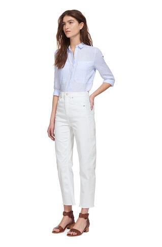 High Waist Barrel Leg Jean, in White on Whistles