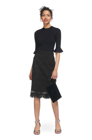 Amalie Lace Pencil Skirt, in Black on Whistles