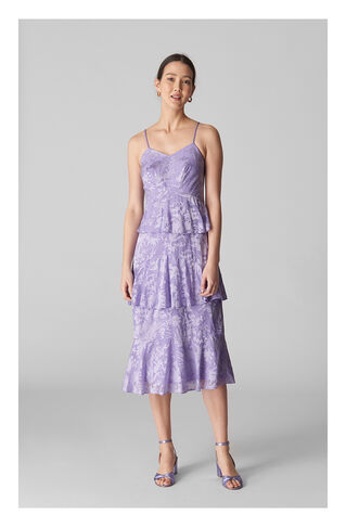 Luisa Satin Devore Dress, in Lilac on Whistles