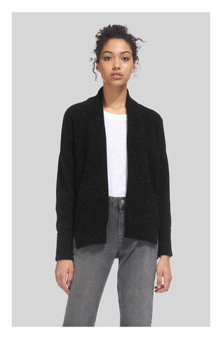 Rib Back Cashmere Cardigan, in Black/Multi on Whistles