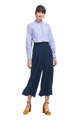 Pleated Wide Leg Trouser, in Navy on Whistles