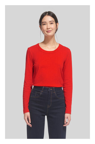Rosa Double Trim L/Sleeve Tee, in Red on Whistles