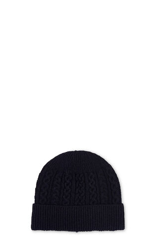 Cable Knit Beanie Hat, in Navy on Whistles