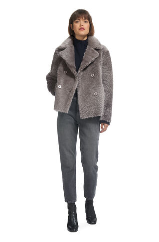 Arlen Sheepskin Jacket, in Grey on Whistles
