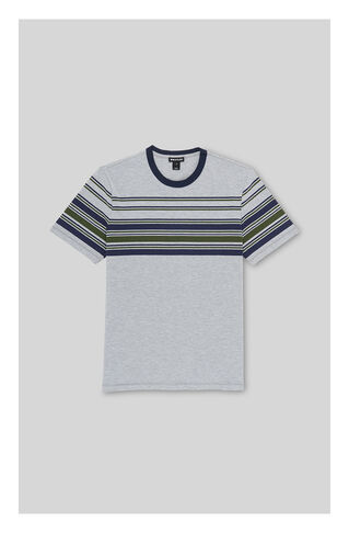 Placement Stripe T-shirt, in Grey Marl on Whistles