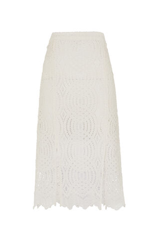 Clementine Circle Lace Skirt, in Ivory on Whistles
