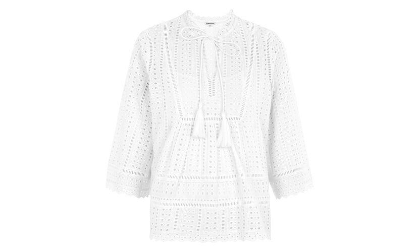 Margo Broderie Tassle Blouse, in White on Whistles