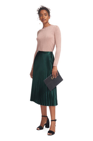 Satin Pleated Skirt, in Dark Green on Whistles