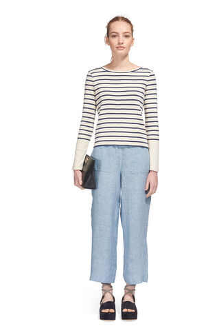 Resort Chambray Linen Trouser, in Denim on Whistles